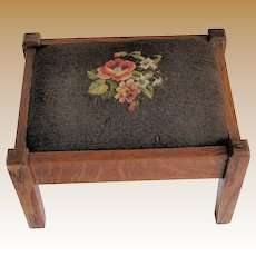 Antique Oak Foot Stool, Classic Mission Arts & Crafts