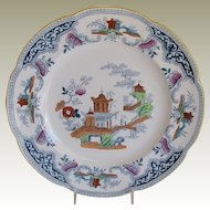 Cauldon Plate, Blue and White English Chinoiserie, Antique c 1902