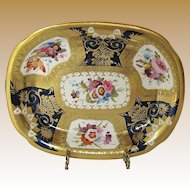 Antique English Porcelain Teapot Stand, Early 19th C,  Handpainted Flowers, Heavily Gilded