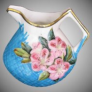 Minton Pitcher or Milk Jug, Molded Azaleas, Pink & Turquoise, Antique 19th C