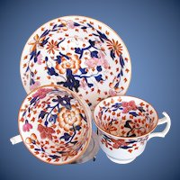 Antique Coalport Trio: Tea & Coffee Cups + Saucer,  English Imari, Early 19th C