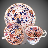 Antique English Imari Trio: Tea & Coffee Cups + Saucer,  Coalport Early 19th C