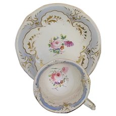 Antique English Cup & Saucer,  Early 19th C Rockingham