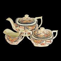Antique English Imari Tea Set: Teapot, Sugar, Creamer, Mayer & Newbold, Early 19th C