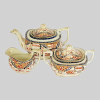 Antique English Imari Tea Set: Teapot, Sugar, Creamer, Mayer & Newbold, Early 19th C