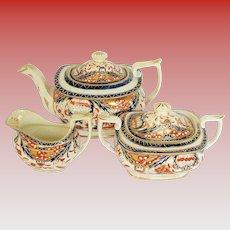 Rare Mayer & Newbold Tea Set: Teapot, Sugar, & Creamer, Antique Early 19th C English Imari
