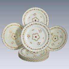 "Royal Worcester Plates, Set of 8, ""Cumberland Red"", Fluted Edge, Vintage"