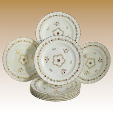 "Royal Worcester Plates, Set of 8, ""Cumberland Red"", Fluted Edge, Vintage"