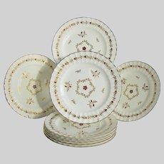 """Royal Worcester Salad/Dessert Plates, Set of 8, Gilded """"Cumberland Red"""""""
