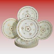 """Royal Worcester Salad Plates, Set of 8, """"Cumberland Red"""", Fluted Edge, Vintage"""