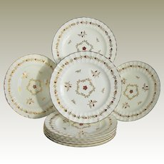 "Royal Worcester Salad Plates, Set of 8, ""Cumberland Red"", Fluted Edge, Vintage"