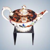 Antique Mason's Teapot, Rare Bone China, English Imari, Early 19th C