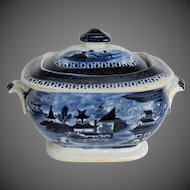 "Antique Coalport Sugar Box, Dark Blue ""Curly Pagodas"",  John Rose, Early 19th C English"