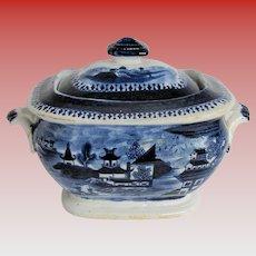 "John Rose Coalport Sugar Box, Dark Blue ""Curly Pagodas"",  Antique Early 19th C English"