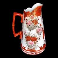 Antique Kutani  Large Pitcher, Signed, Meiji Era Japanese Porcelain