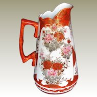 Antique Kutani  Large Pitcher, Signed, Meiji Era Japanese Porcelain