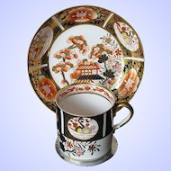 Antique Spode Coffee Can & Saucer,  English Imari Pattern, Early 19th C