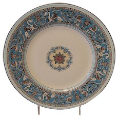 Wedgwood Florentine Salad Plate, W2714 Turquoise with Fruit Center