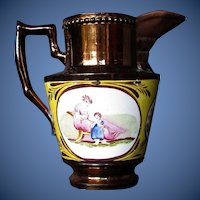 Antique English Creamer, Copper Lustre w/ Rare Canary Yellow Ground, Early 19th C