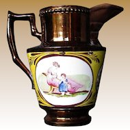 Copper Lustre Creamer, Rare Canary Yellow Ground, Mother & Child, Antique Early 19th C English