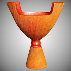 Japanese Awaji Pottery Vase, Art Deco, Crystalline Chrome Red (Orange) Glaze with Sgraffito
