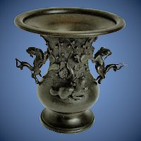 Antique Japanese Bronze Vase, Detachable Mythical Animals, 19th C Meiji Era