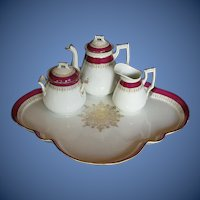 Antique Porcelain Tea Set: Teapot, Creamer, Sugar, & Tray,  19th C