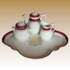 Antique Porcelain Tea Set: Teapot, Creamer, Sugar, & Tray,  19th C