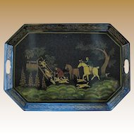 Vintage Tole Tray, Toleware Fox Hunt Scene with Hounds & Horses, (after Wolstenholme)