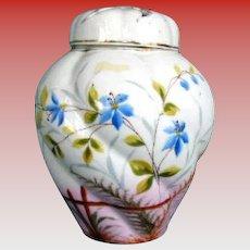 Antique Potpourri Vase,  Hand Painted Porcelain, 19th C