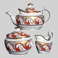 Antique Coalport Tea Set: Teapot, Sugar & Creamer, Thomas Rose, Early 19 C