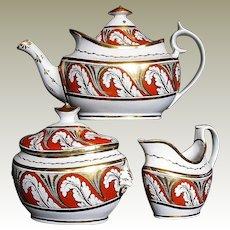Antique English Porcelain Tea Set (Teapot, Sugar, Creamer), Early 19 C Coalport +