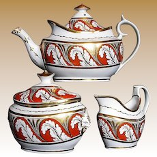Antique English Porcelain 3 pc. Tea Set,  Early 19 C,  Thomas Rose Coalport +