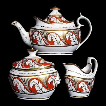 Antique Coalport Tea Set: Teapot, Sugar & Creamer, Thomas Rose, Early 19 C
