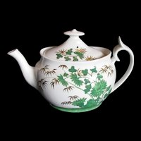 """Antique Spode Teapot,  English Chinoiserie,  Green """"Bamboo"""", Early 19th C"""