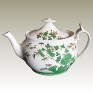 "Rare Spode Chinoiserie Teapot,  Green ""Bamboo"",  Antique Early 19th C English"