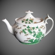 "Antique Spode Teapot,  English Chinoiserie,  Green ""Bamboo"", Early 19th C"