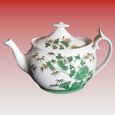 """Rare Spode Chinoiserie Teapot,  Green """"Bamboo"""",  Antique Early 19th C English"""