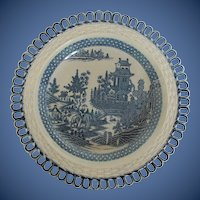 """Rare Turner Plate, Blue & White """"Elephant"""" Pattern,  Antique English, Late 18 C - Early 19 C"""