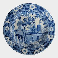Antique English Blue & White Pearlware Plate, Caramanian Castle Variation,  Early 19th C