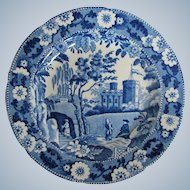 Antique English Blue & White Plate, Caramanian Castle Variation,  Early 19th C