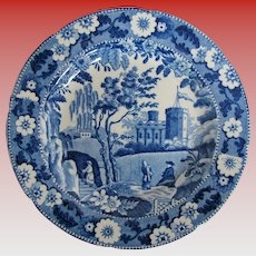 English Blue & White Plate, Caramanian Castle Variation,  Antique Early 19th C