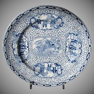 "Adams ""Chinese Bird""  Plate, Blue & White with People, Vintage Chinoiserie c1930"