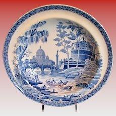 "Original Spode ""Rome"" or ""Tiber"" Soup Plate #2,  Rare Mark, Antique Early 19th C English"