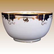 Antique Davenport Waste Bowl, Bone China, Hand Painted Cobalt Blue & Gold, 19th C