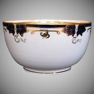 Davenport Waste Bowl, Bone China, Hand Painted Cobalt Blue & Gold, Antique 19th C
