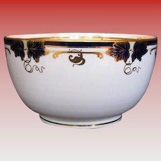 Antique Davenport Waste Bowl, Bone China, Hand Painted Cobalt Blue & Gold, 19th C
