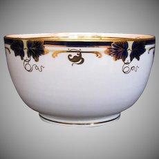 Davenport Waste Bowl, Bone China, Hand Painted Cobalt Blue & Gold, Antique 19th C