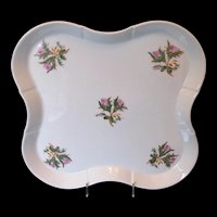 """Antique """"Moss Rose"""" Large Tray, 19th C English Porcelain"""