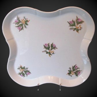 "Antique ""Moss Rose"" Large Tray, 19th C English Porcelain"